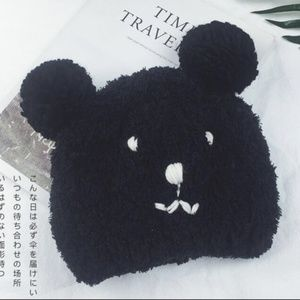 New! Warm Black Bear Knit Beanie Hat